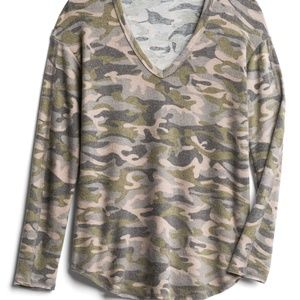 MICHAEL STARS Madison Brushed Camo Knit Top NWT